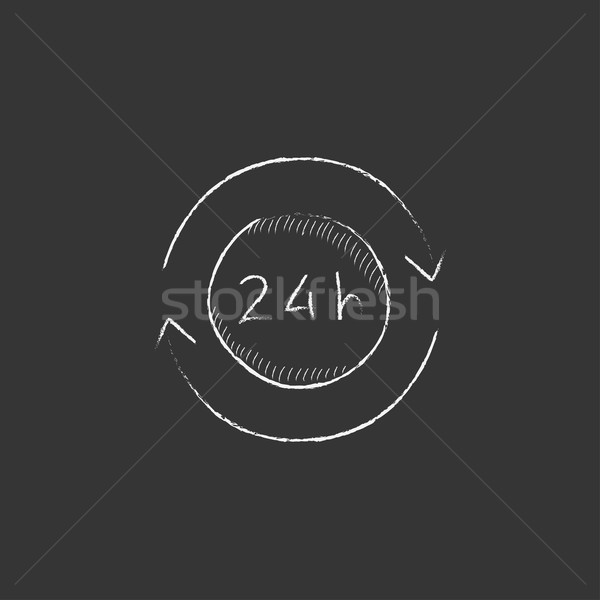 Service 24 hrs. Drawn in chalk icon. Stock photo © RAStudio