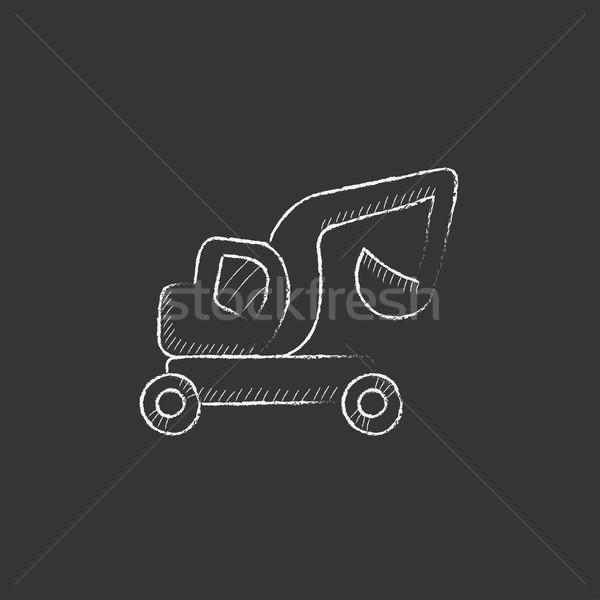 Excavator truck. Drawn in chalk icon. Stock photo © RAStudio