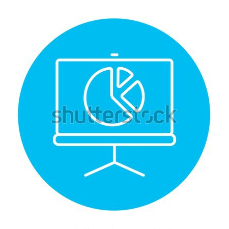 Roller screen with the pie chart line icon. Stock photo © RAStudio