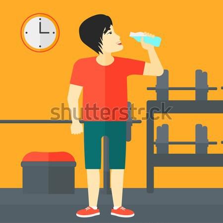 Kobieta woda pitna siłowni wektora projektu ilustracja Zdjęcia stock © RAStudio