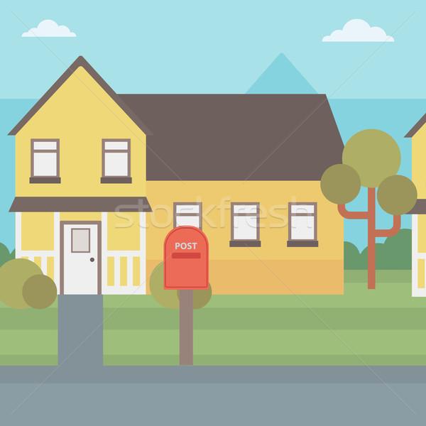 Suburban casă cutie poştală vector proiect ilustrare Imagine de stoc © RAStudio
