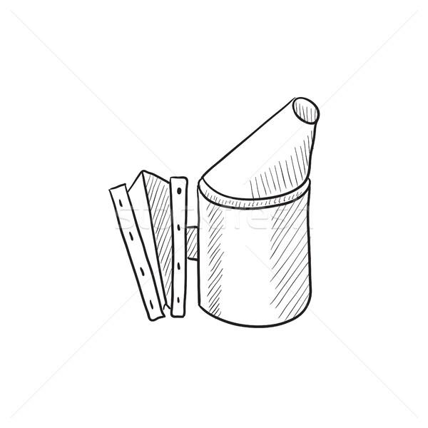 Abeille ruche fumeur croquis icône web Photo stock © RAStudio