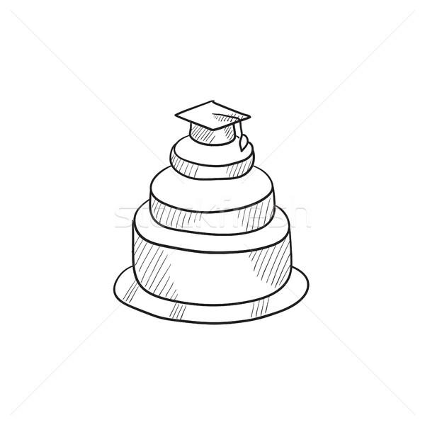 Graduation cap on top of cake sketch icon. Stock photo © RAStudio
