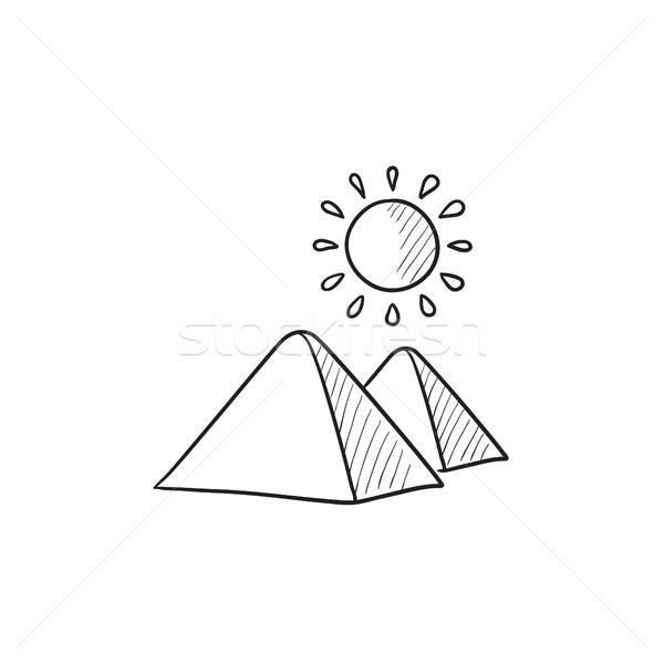 Egipcjanin piramidy szkic ikona wektora odizolowany Zdjęcia stock © RAStudio