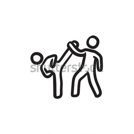 Karate fighters sketch icon. Stock photo © RAStudio