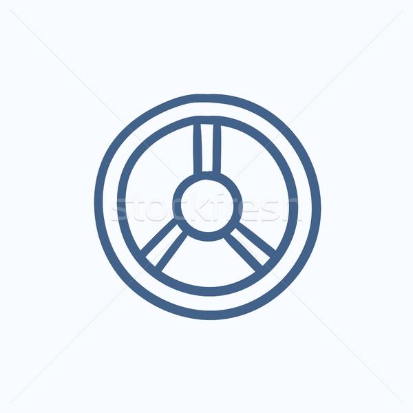 Kormánykerék rajz ikon vektor izolált kézzel rajzolt Stock fotó © RAStudio