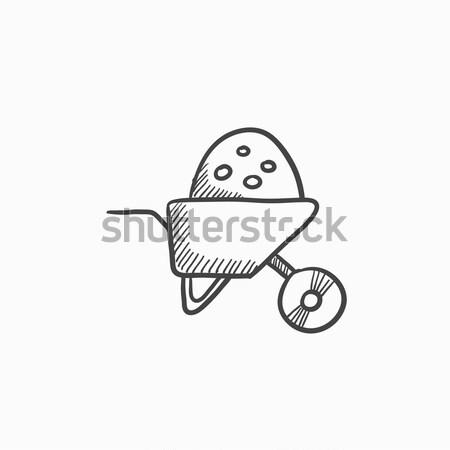 Kruiwagen vol zand schets icon vector Stockfoto © RAStudio