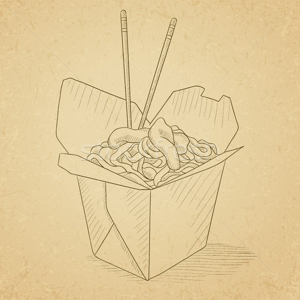 Opened take out box with chinese food. Stock photo © RAStudio