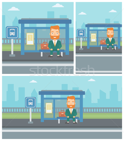 男 待って バス バス停 ヒップスター あごひげ ストックフォト © RAStudio