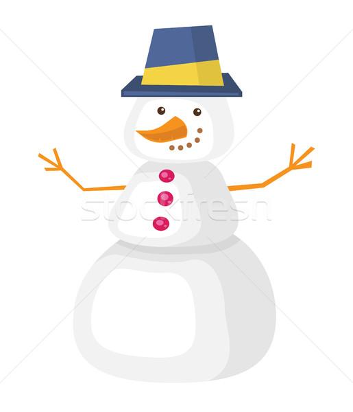 ストックフォト: 面白い · 雪だるま · 帽子 · ニンジン · 鼻