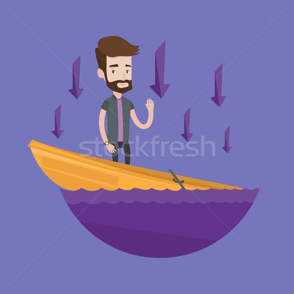 üzletember áll süllyed csónak hipszter kérdez Stock fotó © RAStudio