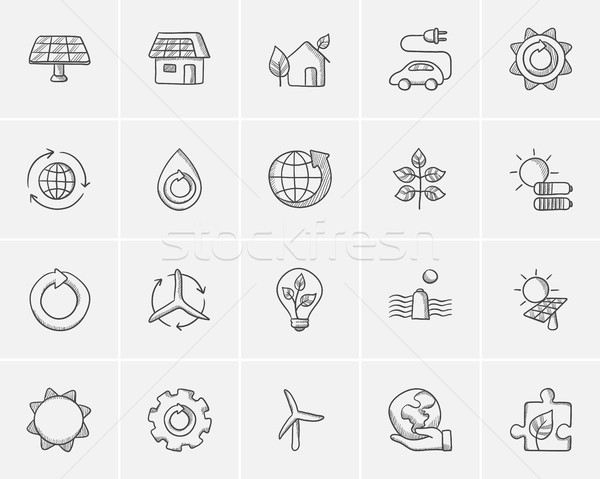 Ecology sketch icon set. Stock photo © RAStudio