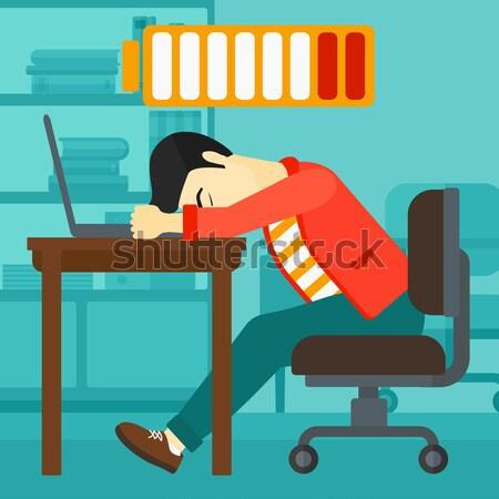 Nő alszik munkahely ázsiai laptop billentyűzet alacsony Stock fotó © RAStudio