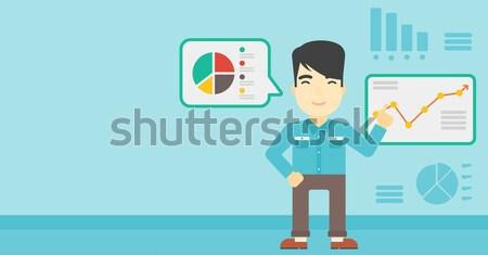 Empresário relatório laptop asiático indicação Foto stock © RAStudio