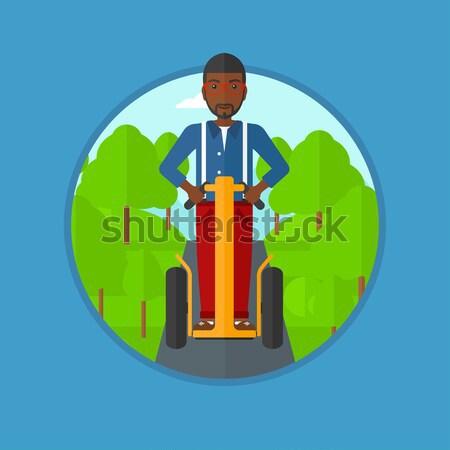 Sporty man on roller-skates vector illustration. Stock photo © RAStudio