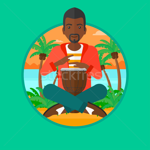 Man playing ethnic drum vector illustration. Stock photo © RAStudio