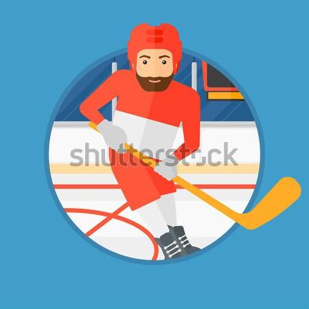 Ice hockey player with stick vector illustration. Stock photo © RAStudio