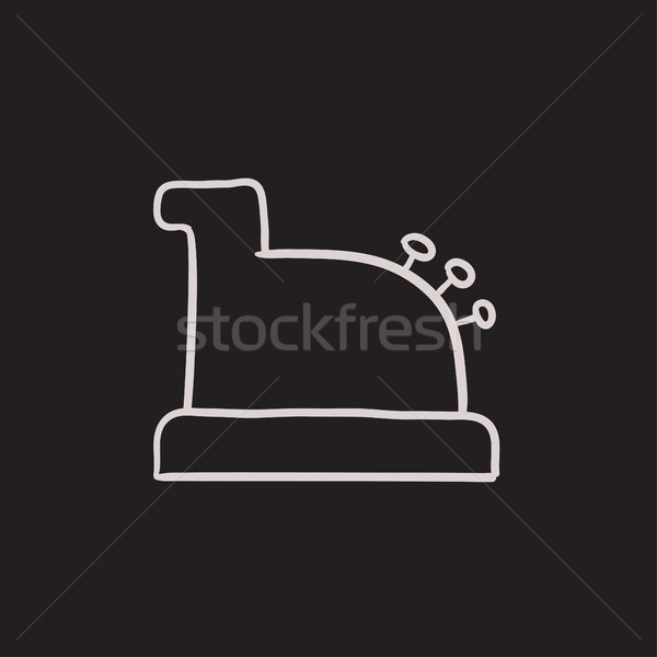Stock photo: Cash register machine sketch icon.