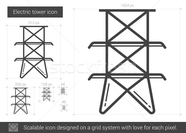 Elektrische toren lijn icon vector geïsoleerd Stockfoto © RAStudio