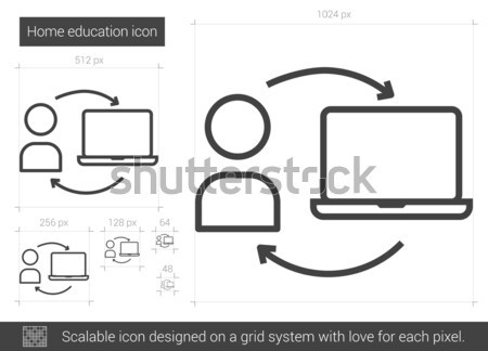 Stock photo: Home education line icon.