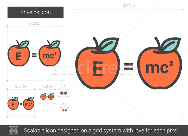Fysica lijn icon vector geïsoleerd witte Stockfoto © RAStudio