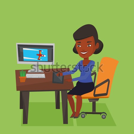 Business woman earning money from online business. Stock photo © RAStudio