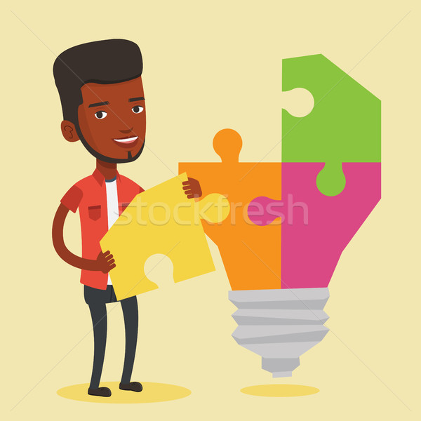 Student with lightbulb vector illustration. Stock photo © RAStudio