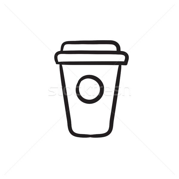 Eldobható csésze rajz ikon vektor izolált Stock fotó © RAStudio