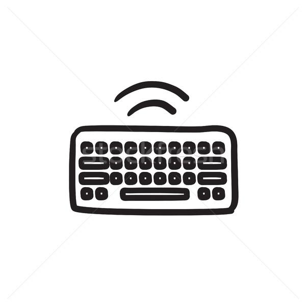 Draadloze toetsenbord schets icon vector geïsoleerd Stockfoto © RAStudio