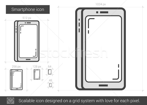 Smartphone line ikona wektora odizolowany biały Zdjęcia stock © RAStudio
