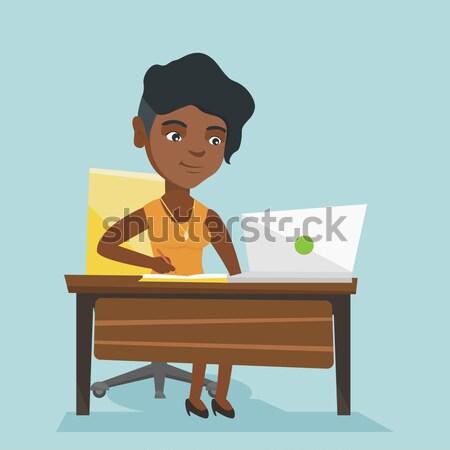 Homem de negócios problema prazo de entrega empresário sessão local de trabalho Foto stock © RAStudio
