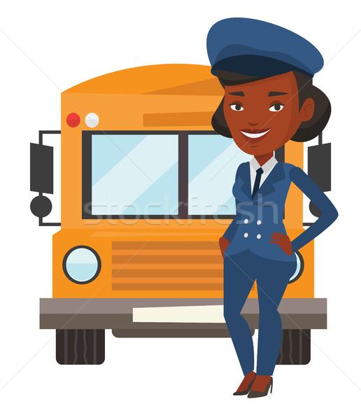 Schoolbus bestuurder jonge school permanente Geel Stockfoto © RAStudio