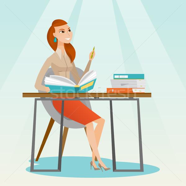 学生 書く デスク 小さな 白人 女性 ストックフォト © RAStudio