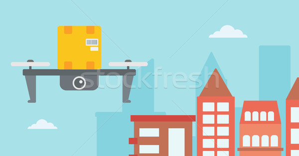 Delivery drone delivering post package to customer Stock photo © RAStudio