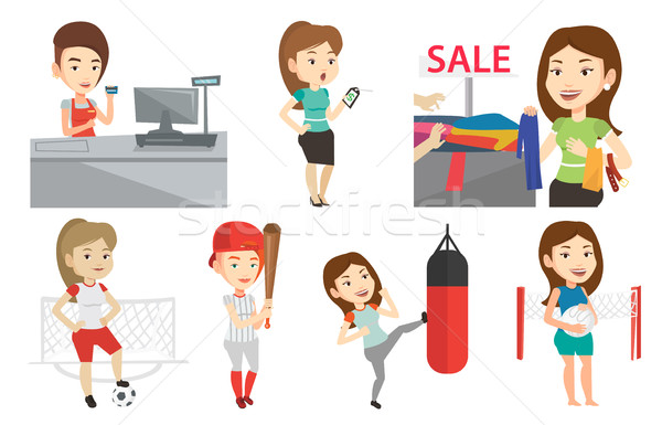 Stock photo: Vector set of shopping people and sportswomen.