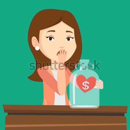 Bankrupt business woman looking at empty glass jar Stock photo © RAStudio
