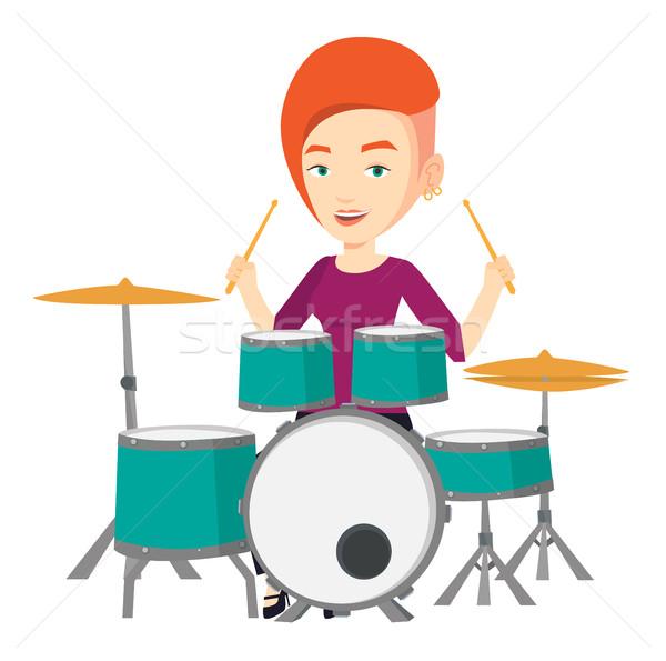 Woman playing on drum kit vector illustration. Stock photo © RAStudio