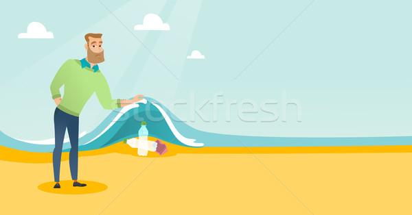 человека пластиковых бутылок морем волна Сток-фото © RAStudio