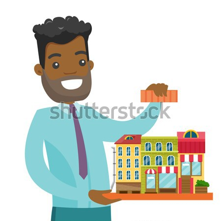 Business woman walking on the roofs of buildings. Stock photo © RAStudio