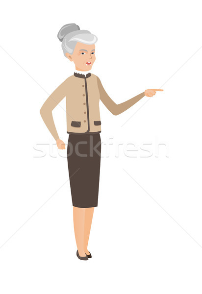 Senior caucasian furious business woman screaming. Stock photo © RAStudio