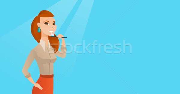 Woman brushing teeth vector illustration. Stock photo © RAStudio
