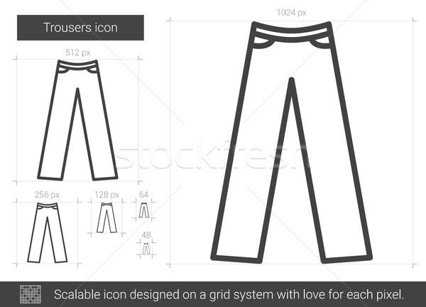 брюки линия икона вектора изолированный белый Сток-фото © RAStudio