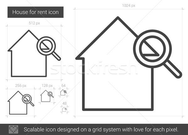 Ház bérlés vonal ikon vektor izolált Stock fotó © RAStudio