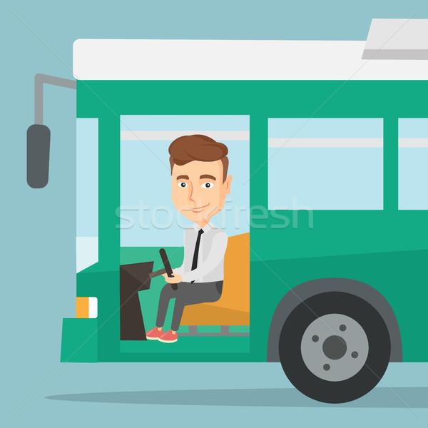 Kaukasisch bus bestuurder vergadering stuur rijden Stockfoto © RAStudio