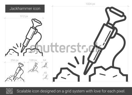 Jackhammer line icon. Stock photo © RAStudio