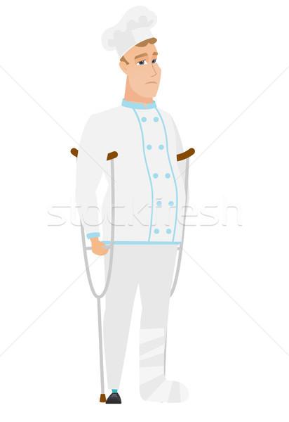 Injured chef cook with broken leg. Stock photo © RAStudio
