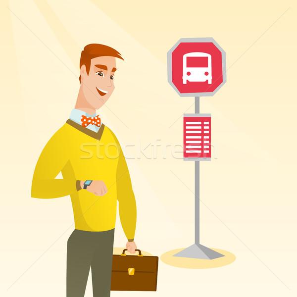 Człowiek czeka autobus przystanek autobusowy biznesmen Zdjęcia stock © RAStudio
