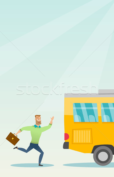 Caucasian latecomer man running for the bus. Stock photo © RAStudio
