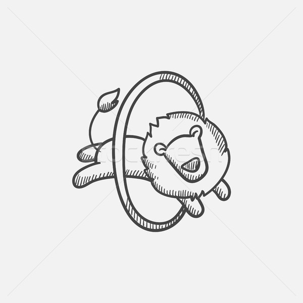 Lion jumping through ring sketch icon. Stock photo © RAStudio