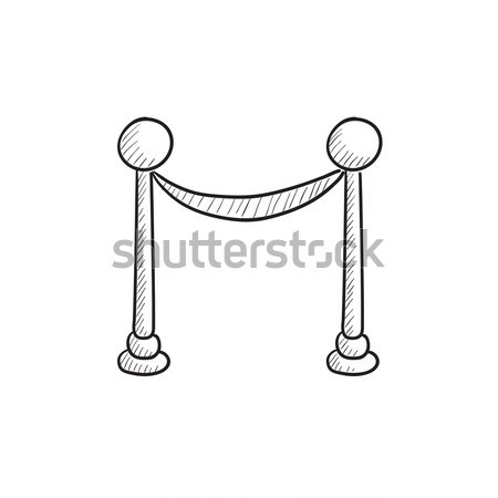 Portable protective rack with tape sketch icon. Stock photo © RAStudio